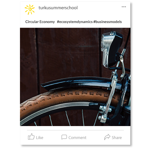 instapost with a bike and the course title